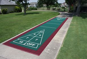 Contemporary Home Gym with Outdoor shuffleboard court