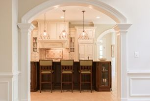 Traditional Kitchen with Limestone Tile, Kitchen island, Pendant light, Custom hood, Flush, limestone tile floors, One-wall