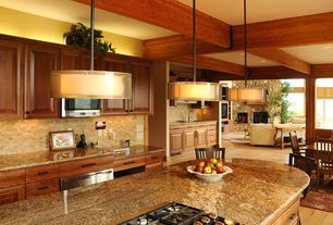Contemporary Kitchen with Exposed beam, Ceramic Tile, Dainolite - light double drum pendant oil brushed bronze, gold/white