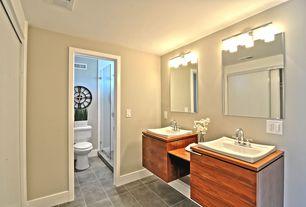Asian Master Bathroom with frameless showerdoor, Master bathroom, Flush, Wood counters, European Cabinets, Vessel sink
