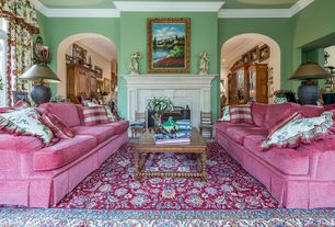 Traditional Living Room with Crown molding, Fireplace, insert fireplace, Carpet, Standard height
