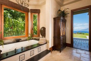 Traditional Master Bathroom with Bathtub, Casement, Flat panel cabinets, drop in bathtub, Master bathroom, stone tile floors