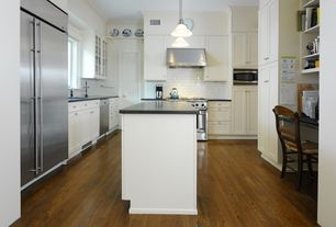 Traditional Kitchen with Custom cabinets - square recessed panel in dove white, White subway tile, Undermount sink, U-shaped