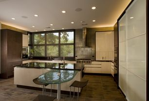 Contemporary Kitchen with European Cabinets, Stone Tile, Undermount sink, Slate Tile, U-shaped, Simple marble counters, Flush