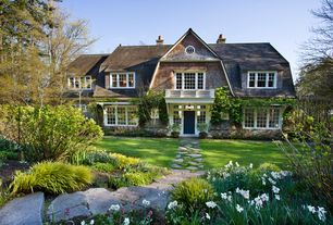 Traditional Exterior of Home with Paint, Stone pathway, double-hung window