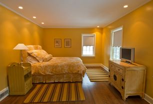 Cottage Guest Bedroom with Crown molding, picture window, can lights, Standard height, Paint, Hardwood floors