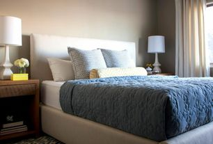 Contemporary Master Bedroom with CB2 Facade Snow Bed, Standard height, Crate and Barrel Pratt Table Lamp, Paint 1, Carpet