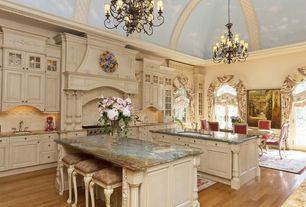 Traditional Kitchen with One-wall, Glass panel, Crown molding, Kitch aid mixer, Flush, Large Ceramic Tile, Custom hood