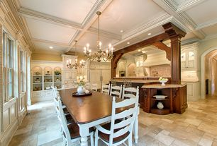 Traditional Kitchen with Glass panel, Kitchen island, Complex granite counters, Box ceiling, limestone tile floors, L-shaped