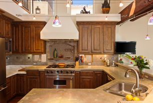 Traditional Kitchen with Complex marble counters, Inset cabinets, Custom hood, flush light, gas range, U-shaped, Stone Tile