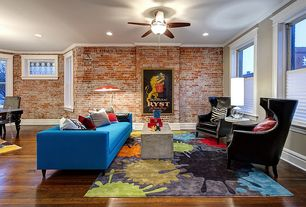 Eclectic Living Room with Momeni lil' mo hipster ivory splash rug (4'0 x 6'0), Hardwood floors, Area rug, Coffee table
