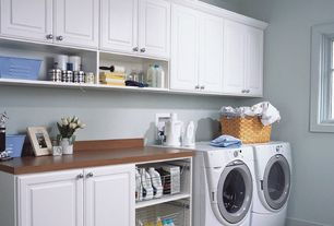 Traditional Laundry Room with Paint 2, Ironing Board, drop-in sink, Standard height, Built-in bookshelf, Paint 1