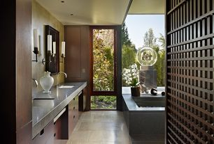 Contemporary Master Bathroom with Casement, Soapstone counters, Bathtub, picture window, Wall sconce, Standard height, Flush