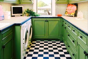 Traditional Laundry Room with Daltile Semi-Gloss Black 4-1/4 in. x 4-1/4 in. Ceramic Floor and Wall Tile, interior wallpaper