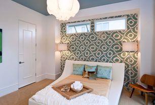 Contemporary Master Bedroom with Laminate floors, Pendant light, specialty window, specialty door, Standard height
