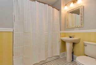 Traditional Full Bathroom with IMPERIAL Yellow Strippable Prepasted Classic Wallpaper, Pedestal sink, penny tile floors