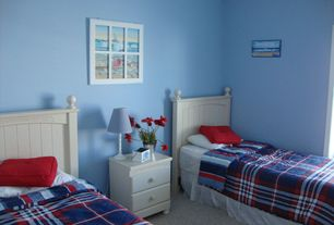Cottage Guest Bedroom with Carpet, Woodbridge Home Designs Whimsy Bed, Woodbridge Home Designs 875 Series 2 Drawer Nightstand