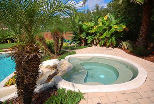 Traditional Hot Tub with Fence, Pathway, exterior brick floors, Raised beds