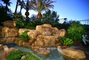Rustic Landscape/Yard with Fountain, Pond, Fence, exterior stone floors