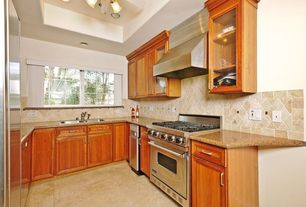 Traditional Kitchen with Granite counter top, High ceiling, Stone Tile, Glass panel, Simple granite counters, Raised panel