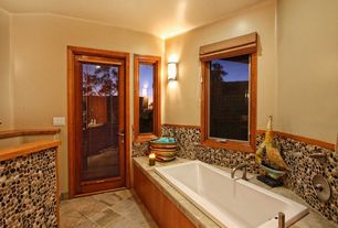 Craftsman Full Bathroom with Wall sconce, Pental - mahogany polished travertine tile, Bronze cabinet hardware