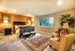 Traditional Master Bedroom with can lights, Standard height, Carpet, specialty window