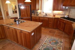 Traditional Kitchen with Flat panel cabinets, Large Ceramic Tile, L-shaped, Pendant light, Undermount sink, Flush