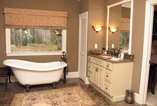Country Full Bathroom with Clawfoot, Louvered door, oregon tile and marble aradis dream granite, Crown molding, Raised panel