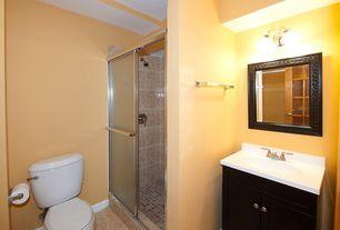 Modern Full Bathroom with Home decorators harris bath vanity, Flat panel cabinets, Glass panel door, Simple marble counters