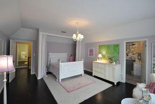 Modern Guest Bedroom with Chandelier, Carpet