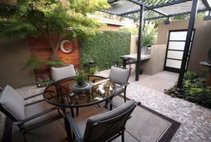 Asian Patio with Fence, Darlee Series 50 Dining Table, Bird bath, Outdoor kitchen, exterior stone floors, Trellis, Pathway