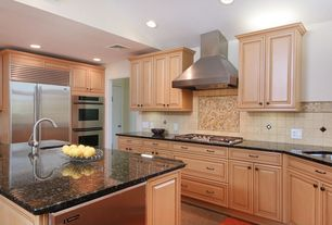 Modern Kitchen with Kitchen island, Ms international black galaxy granite, Raised panel, Simple granite counters, L-shaped