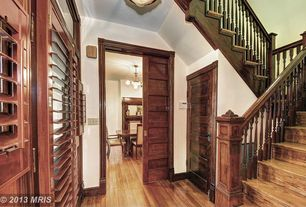 Craftsman Staircase with Standard height, curved staircase, Hardwood floors