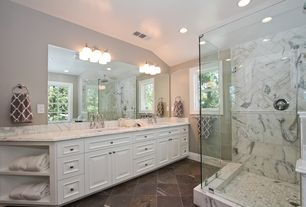 Traditional Master Bathroom with Complex Marble, Undermount sink, Complex marble counters, frameless showerdoor, Flush