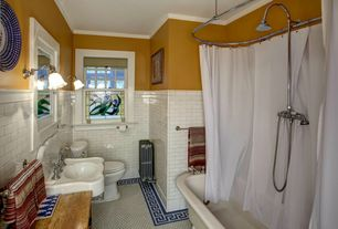 Traditional Full Bathroom with Signature hardware oval shower curtain rod, shower bath combo, Shower, Bathtub, Wood counters