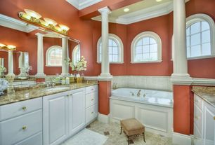 Traditional Full Bathroom with Simple Granite, Crown molding, terracotta tile floors, Columns, Arched window, Undermount sink