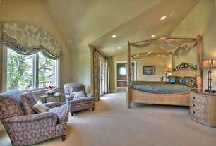 Traditional Master Bedroom with Pottery barn - cortona canopy bed, Paint, Carpet, French doors, Austrian shade, can lights