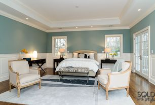 Traditional Master Bedroom with Wainscotting, Robert Abbey Jerry Antique Silver Table Lamp, French doors, Crown molding