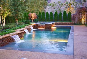 Traditional Swimming Pool with Fountain, Pool with hot tub, Fence, exterior stone floors, Pathway