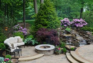 Traditional Landscape/Yard with Fire pit, Hydrangea - Forever Pink, Pond, Fountain, exterior stone floors
