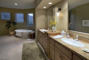 Modern Master Bathroom with Freestanding, Wall sconce, Pfister - Parisa 4 in. Centerset Single-Handle Mid-Arc Bathroom Faucet