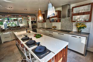 Contemporary Kitchen with slate tile floors, Quartz counters, Breakfast bar, Flush, Ceramic Tile, Pendant light, L-shaped