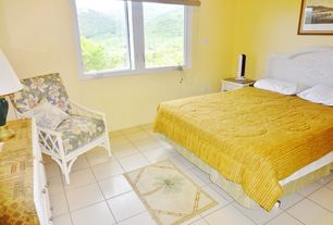 Cottage Guest Bedroom with Standard height, sandstone tile floors, stone tile floors, Casement