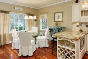 Cottage Dining Room with Standard height, Crown molding, Classic Slipcovers Cotton Duck Long Dining Chair Cover, Paint 1