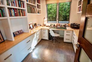 Traditional Home Office with Standard height, Paint 1, Room & Board Roller Shade, specialty window, stone tile floors