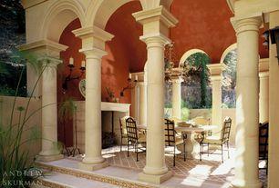 Mediterranean Porch with Fence, Raised beds, Wrap around porch