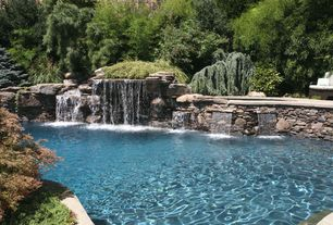 Rustic Swimming Pool with Private backyard, exterior stone floors, Outdoor pool, Custom pool waterfall, Private pool