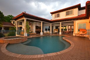 Contemporary Swimming Pool with Outdoor kitchen, exterior brick floors, Pool with hot tub, French doors, Pathway