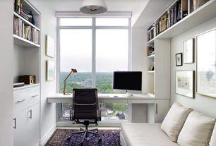 Modern Home Office with Jamison Collection P106SN Bar Pull, Pendant light, Built-in bookshelf, Radici Alba Blue Area Rug