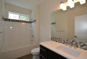 Contemporary Full Bathroom with specialty door, Somertile Reflections Subway Nassau Stone and Glass Mosaic Tiles, Full Bath
